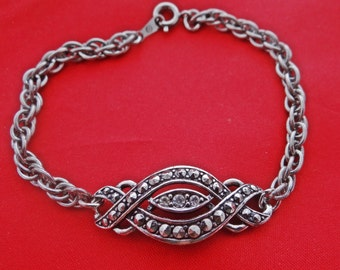 """Vintage AVON signed silver tone 7.5"""" bracelet with marcasites and rhinestones  in great condition, appears unworn"""