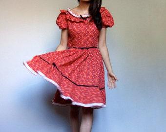 Red Ruffle Dress Vintage Full Circle Skirt Bird Print Floral Peasant Dress Folk Prairie Country Rockabilly Square Dance Dress - Medium M