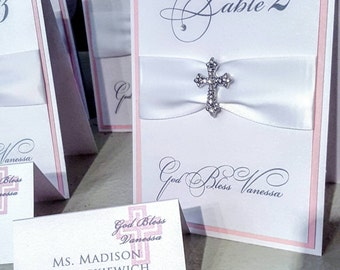 Escort/Place Card with monogram on top of cross in your choice color