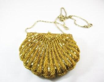 1950's Gold Beaded Purse, La Regale formal evening clutch