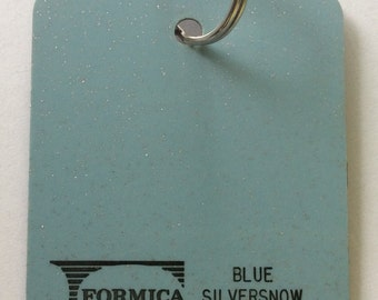 Formica Laminate Sample Key Ring Blue Silversnow