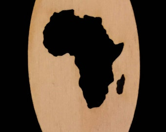 AFRICA Shape Knockout in OVAL  Natural Craft Wood Cutout 1809-KO