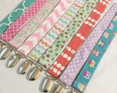 Paci -  Binky Clip - choose your print - boy and girl options