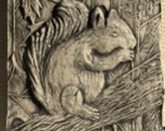 Squirrel 4x4 ceramic porcelain relief tile