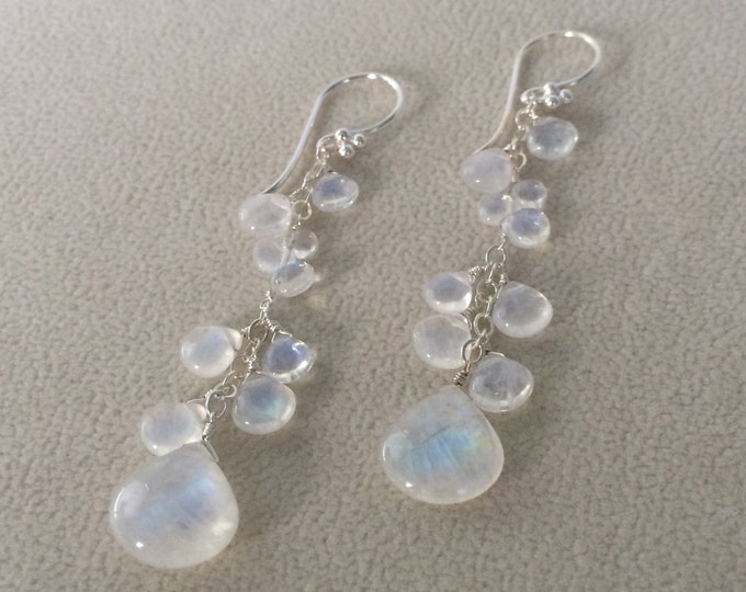 Bridal Wedding Earrings in Sterling Silver and Rainbow Moonstone