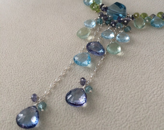 Ocean Blue Pendant Necklace in Sterling Silver with Mystic Blue Topaz, Green Fluorite, Sky Blue Topaz, Blue Zircon, Peridot, Iolite,