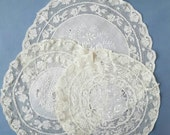 Set of 3 matching vintage lace doilies.