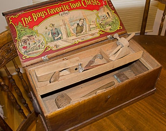 Antique Boys Wood Toy Toolbox with Tools