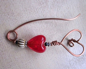 Queen of Hearts Copper Scarf Shawl Fibula Pin