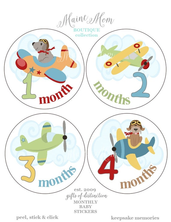GIFT, Monthly Baby Boy Girl  Stickers, Baby Month Stickers, Photo Prop, Baby Shower Gift, Airplanes, Dogs,  Baby Nursery Decor