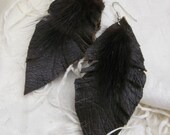 Beautiful Dark Brown Leather Real Mink Feather Style Earrings
