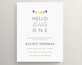 hello little one + pennant baby meet and greet // baby shower // baby announcement // gender neutral // stationery // sip and see
