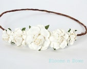 White Flower Crown Headband, flower girl headband, Flower girl flower crown, Flower Wreath, White Flower Headband, First Communion Headband