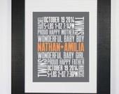 Twins 8x10 Typography Print Letterpress Style Custom Birth Announcement Modern Word Art Subway Art