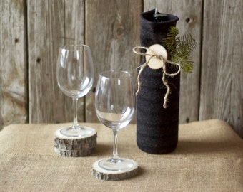 Upcycled WIne Bottle Bag - Black - Grey - Wood Button - Hostess Gift - Eco Friendly - Wine Cozy - Wine Tote - Wine Caddy - Wine Sleeve