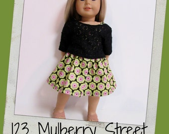 "18"" Doll Clothes, AG doll clothes -Black Lace top and Floral print Sundress fits 18"" dolls like American Girl, Maplelea"