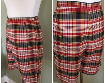 Early 1960s Perfectly Plaid Lady Wrangler Sportswear Red Plaid High Waist Shorts with Side Pocket and Side Metal Zipper-S