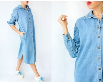 50% OFF SALE... Light Wash Denim Shirtdress 80's Vintage Oversized Shirt Dress Minimalist Button Down Long Maxi Dress