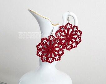 Crochet Earrings, Halloween Earrings, Red Earrings, Flower Earrings, Bead Work Earrings, Christmas Gift, Crochet Jewelry