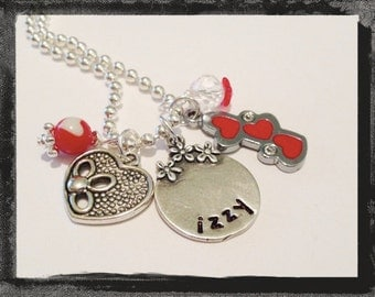 Girls Heart Necklace TRIPLE HEART Cameo Set Necklace Jewelry #V11