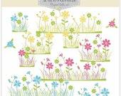 ON SALE Flower clip art, flower field, card making, border , INSTANT Download