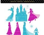 ON SALE princess clip art, princess snow clip art, Silhouette clip art, princess ,blue,purple,INSTANT Download