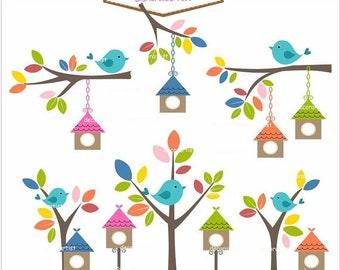 ON SALE Digital clip art birdcage, bird clip arts, Birdhouses, invitations, card making , INSTANT Download