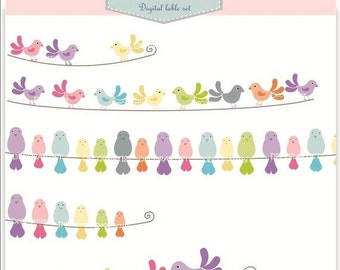 ON SALE Banner clip art for all use, birds and bird banners, INSTANT Download