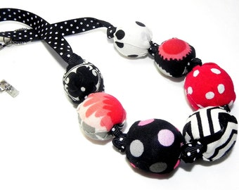 Fabric Necklace - Handmade beads - Black, red, white and pink - Polka dots