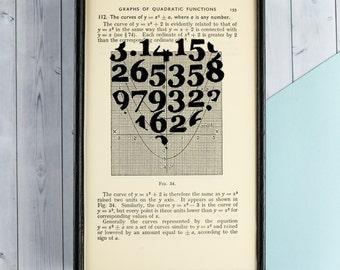 Geek Gift - Pi Heart Print - Romantic Gifts - Geeky Present - Nerd Couples - Framed Wall Art  - Book Lover Gifts - Geek Chic - Book Art