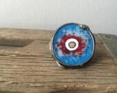 Boho fused glass statement gypsy ring- Tribal eye