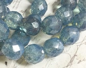 12mm 8 pcs. Denim blue Opal Faceted Czech glass beads  faceted round Beads