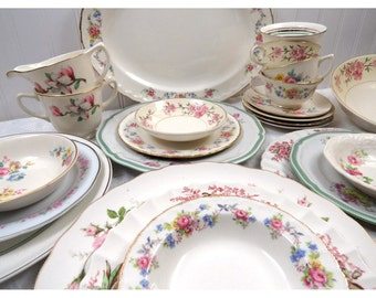 24 Pc Mismatched Dinnerware Set, Service for 4 in Vintage Fine China; Dinner, Salad Plates, Bowls, Tea Cups & Saucers + Serving Dishes, Pink