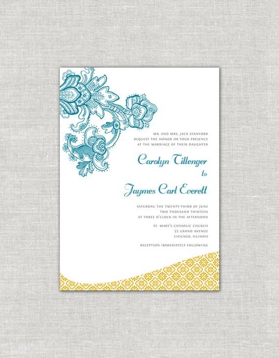 gold wedding invitations moroccan wedding invites teal wedding