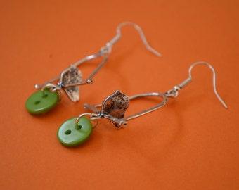 Button Earrings Bird on a Perch Sterling Silver Ear Hooks (BE)