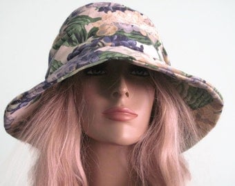Floral Print Cloche Hat Creme Blue Green with Floral Trim Mothers Day Hat Spring Hat