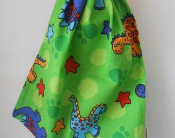 Medium Green Dinosaur Book Bag, Drawstring Bag, Library Bag, Kids Bags, Laundry Bag, Made In Australia, Cotton Bag, Beach Bag, Daycare Bag