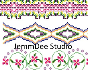 PDF Pattern - Cross Stitch Borders Pattern - Geometric - Floral - Digital Download - Letters - Monograms - Initial