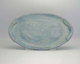 Multi-Textured Ceramic Serving Platter with Handles - Footed Platter - Stoneware Plate - Sky Blue Platter - Textured Oval Platter