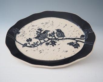 "Ceramic Wall Art - Ceramic Art plate - Black & White Sgraffito - Birds on Branch - 8.5"" x 6.5"" x 1"""