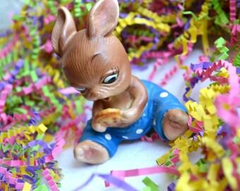 Vintage Ceramic Easter Figurine - Josef Originals Baby Bunny Rabbit Pie