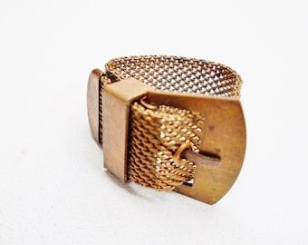 Vintage Copper Mesh Belt Ring Mod Modern Modernist Art Deco Authentic Solid Copper Rare Retro Runway Statement