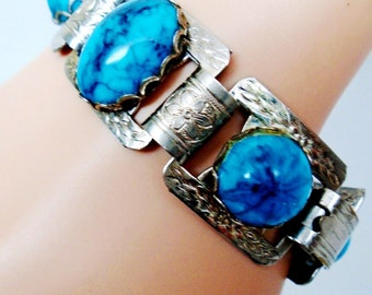 Vintage Ornate Book Chain Turquoise Art Glass Cabochon Bracelet Bangle Cuff  Art Nouveau Retro Art Deco Resort Rare Estate Runway Statement
