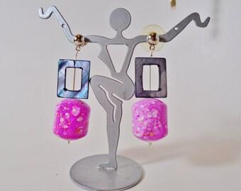 Vintage Rose Quartz Ceramic Beads MOP Square Mod Dangle Earrings Handpainted Retro Bead Retro Bride Wedding Runway Statement