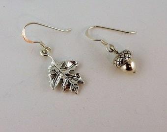 Sterling silver Oak leaf and Acorn Earrings