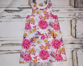 Autumn Mums Chrysanthemum Aline A Line Dress Sz. 0 3 6 12 18 24 Months Handmade Baby Shower Birthday Flowers