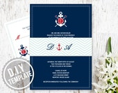 DIY Custom Wedding Invitation Suite with Response Card and Belly Band - Modern Anchor and Oars Nautical Wedding