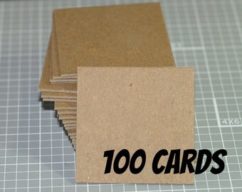 """100 Heavyweight Kraft Squares ... 2.5"""" Kraft Brown Chipboard  .05"""" Thick Recycled Art Supplies Craft Supply DIY Cards Blank Cards Cardboard"""