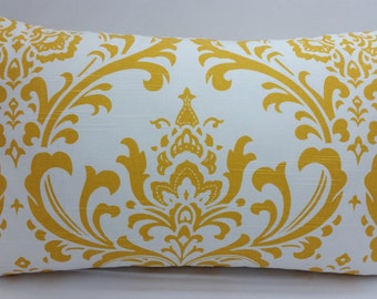 "RTS, Traditions damask toss pillow, 20 x 12"" lumbar, white yellow RTS"