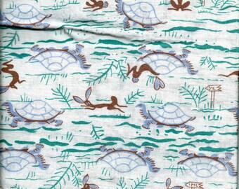 Vintage Feedsack Novelty Juvenile AESOP FABLE Tortoise HARE Rabbit Turtles Feed Sack Quilt Fabric // Lavender & Brown * 36 x 40